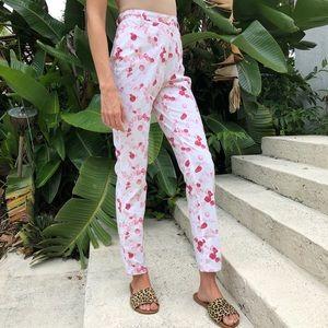 Pants - White&Pink Rose Petal High Rise Straight Leg Pants